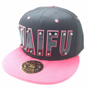 WAIFU HAT IN BLACK WITH PINK BRIM