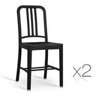 Set of 2 Replica Emeco Navy dining chair Black