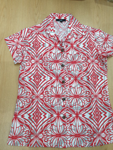 Tanoa Samoa Ladies Bula Top-LW3101 -White/Red
