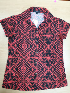 Tanoa Samoa Ladies Bula Top-LW3101 -Black/Red