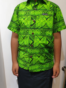 Tanoa Boys Bula Shirt - SB872 - Lime