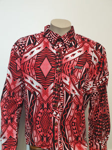 Tanoa Samoa Cotton Mens L/S Bula Shirt -SL1067 -Red