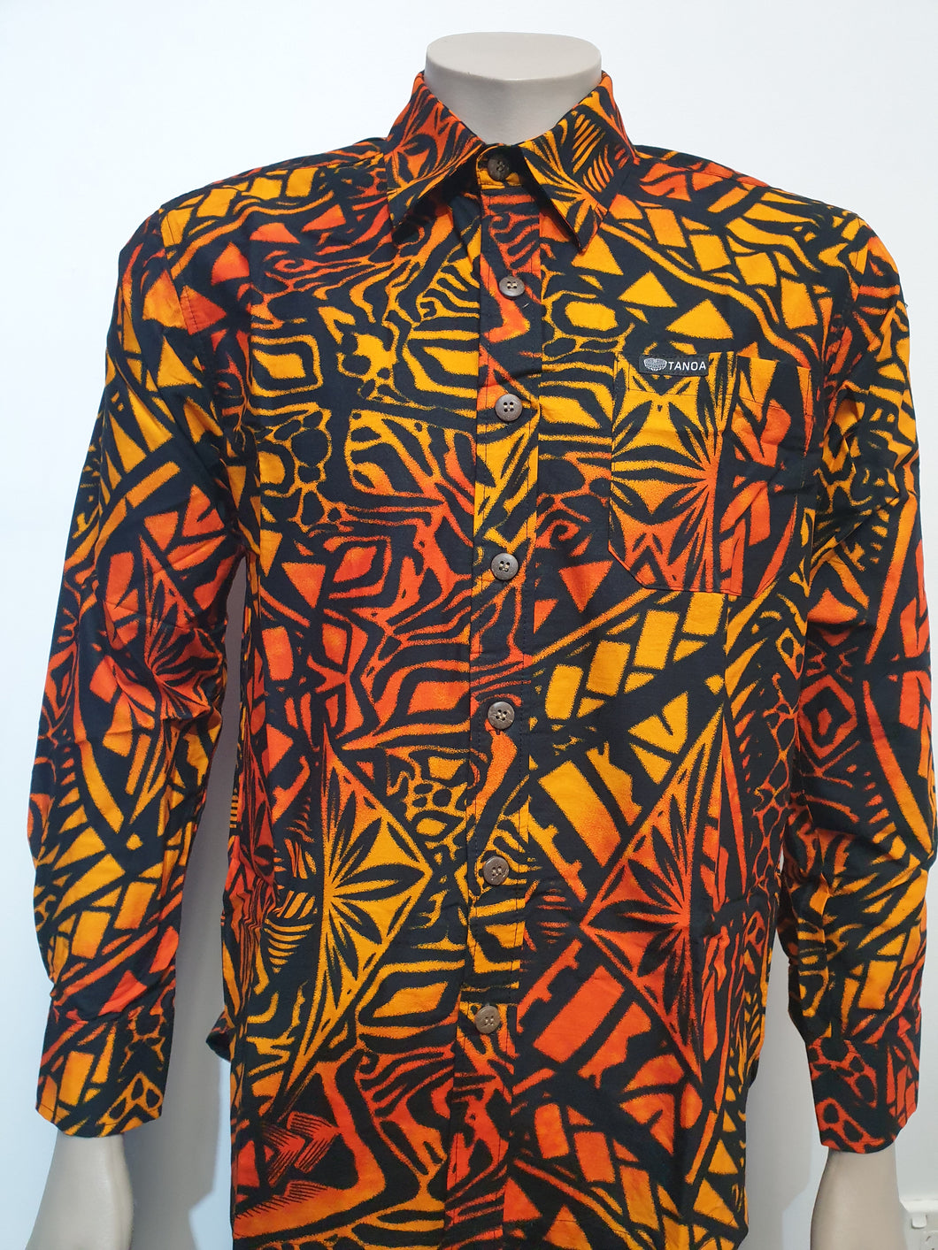 Tanoa Samoa Cotton Mens L/S Bula Shirt - SL1064-Orange