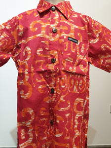Tanoa Boys Bula Shirt-SB861-Red Fire