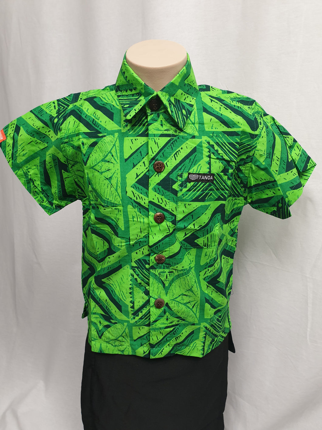 Tanoa Boys Bula Shirt-SB892-Green