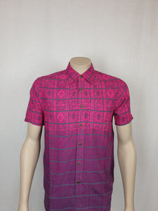 Men's East Coast Rayon Shirts - SS1301-TS/ Grey/Fuschia