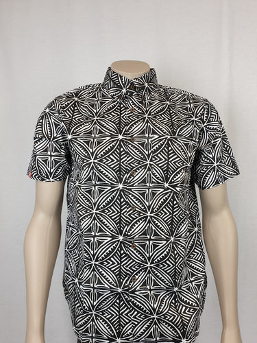 Men's Shirt Tapa Flower-TSS003 Black