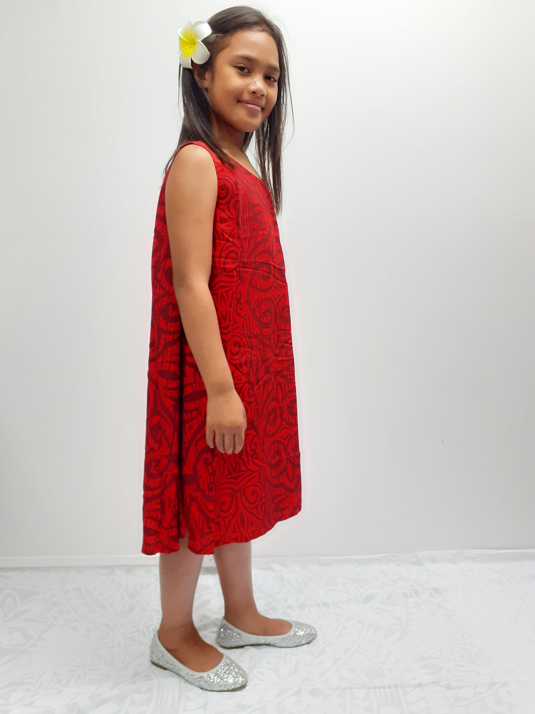 Tanoa Samoa Umbrella Dress-LG876 -Red