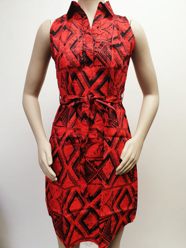Ladies Basic Dress-LD1268 Red