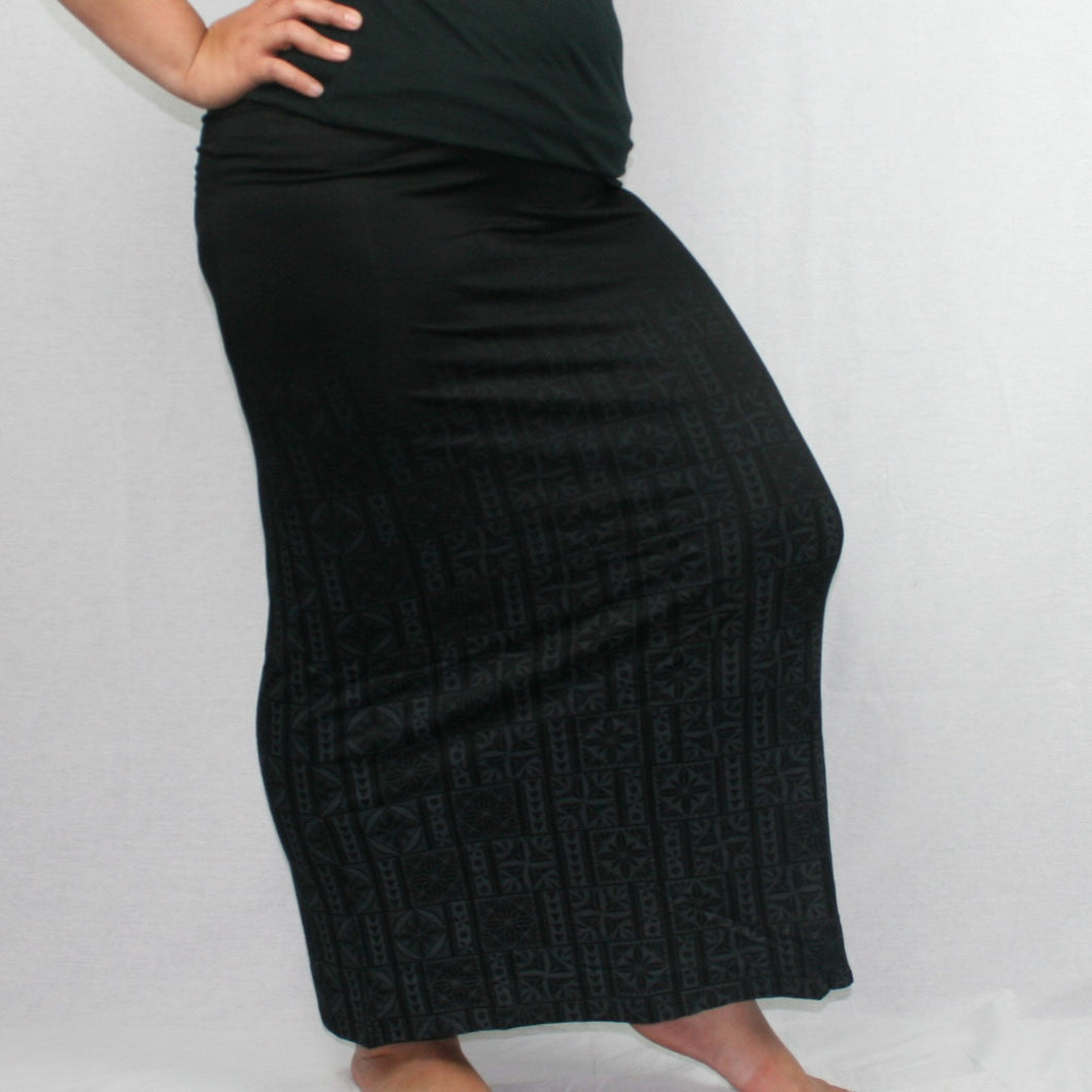 Sialei Matagofie Jersey Maxi Skirt - LS477-TS/ Black Magic