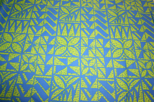 Blue Lime Spotted Flowers Fabric