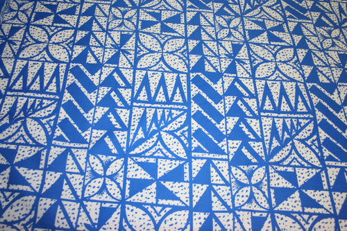 Blue White Spotted Flowers Fabric