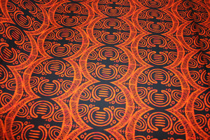 Orange Black Shell From the Sea Fabric