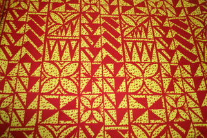 Yellow Red Spotted Flowers Fabric
