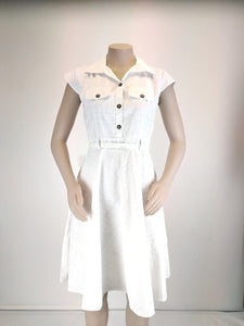 Sialei Ladies Tale Dress. White LD1742