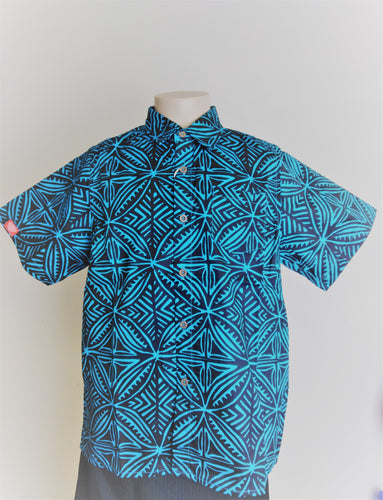 Boy's Shirt Tapa Flower -BSS002 Blue