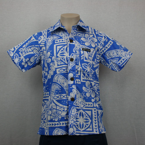 Boys Bula Shirt- SB518-TS Blue White