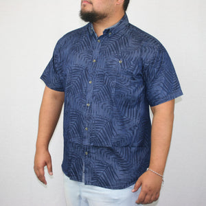 Men's Chambray Shirt- SS1339/ Denim Palm Leaves