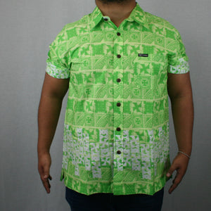 Mens Cotton Shirt SS1224-TS/LIME GREEN