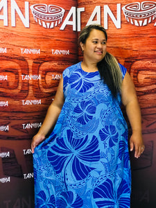 Tanoa Samoa Straight Bottom Umbrella Dress-LD886 -Blue F