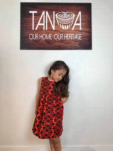 Sialei Girls Placket Dress-LG896-Orange