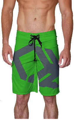 Green Charge Harder Front Logo Board Shorts
