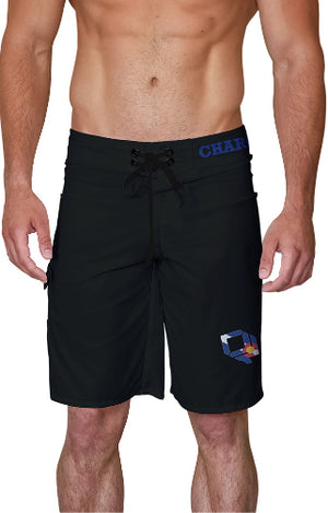 Black Charge Harder CO Flag Board Shorts