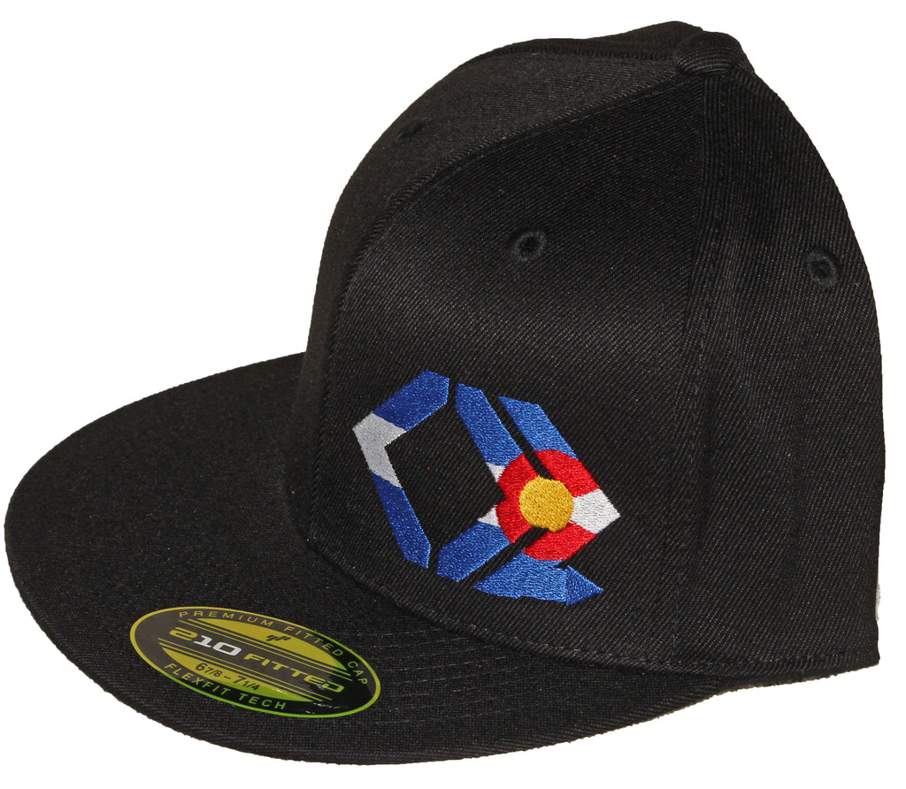 CO Flag Hat - Straight Brim - Black