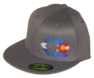 CO Flag Hat - Straight Brim - Grey