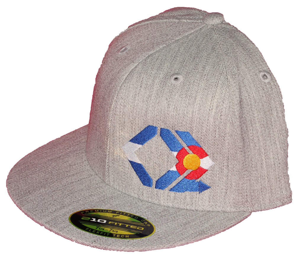 CO Flag Hat - Straight Brim - Heather Grey