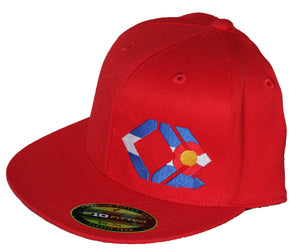 CO Flag Hat - Straight Brim - Red