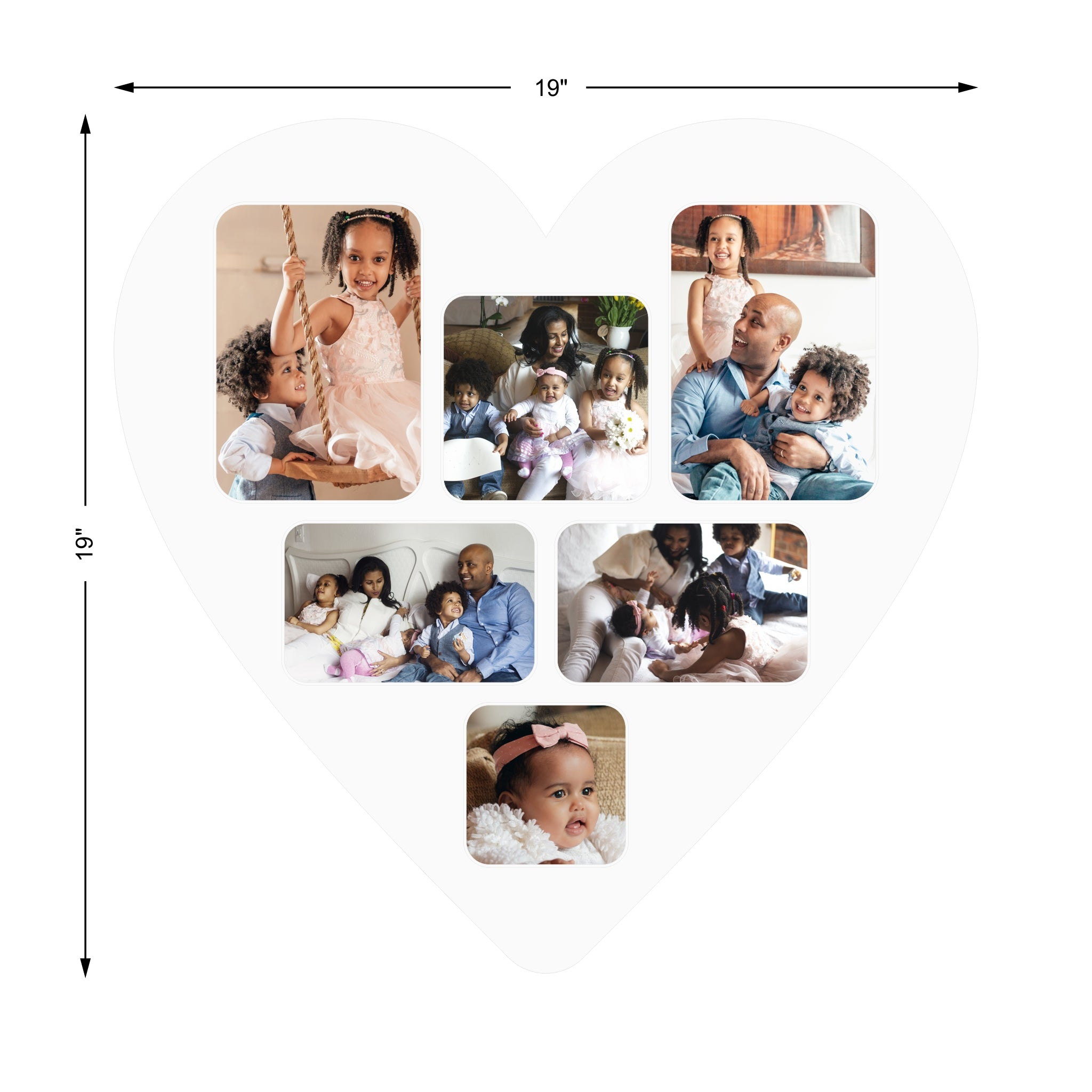 "Collage Photo Mat for 24"" Heart Shaped Frame"