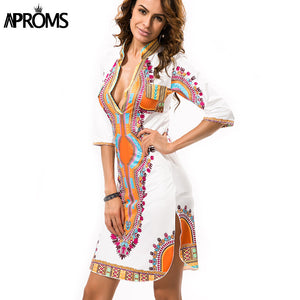 41dd1e3815f4a Aproms Robe Femme T shirt Dress 2017 Women Traditional African Print  Dashiki Dresses Sexy Deep V
