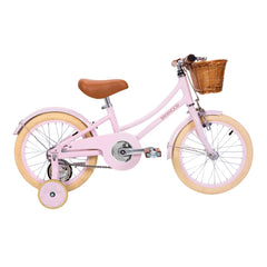 banwood pedal bike pink with training wheels