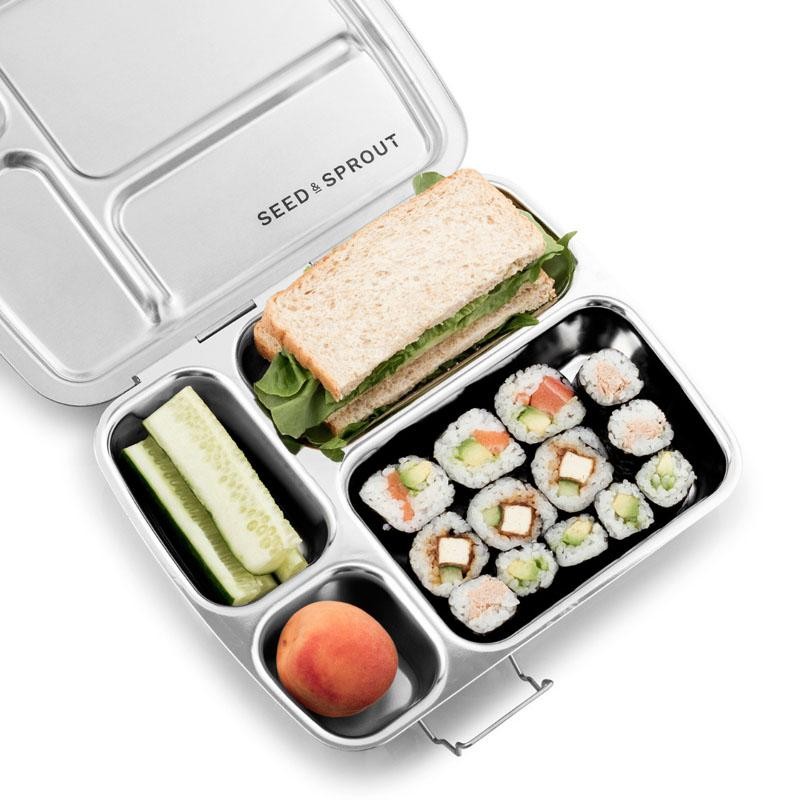 stainless steel bento with sushi