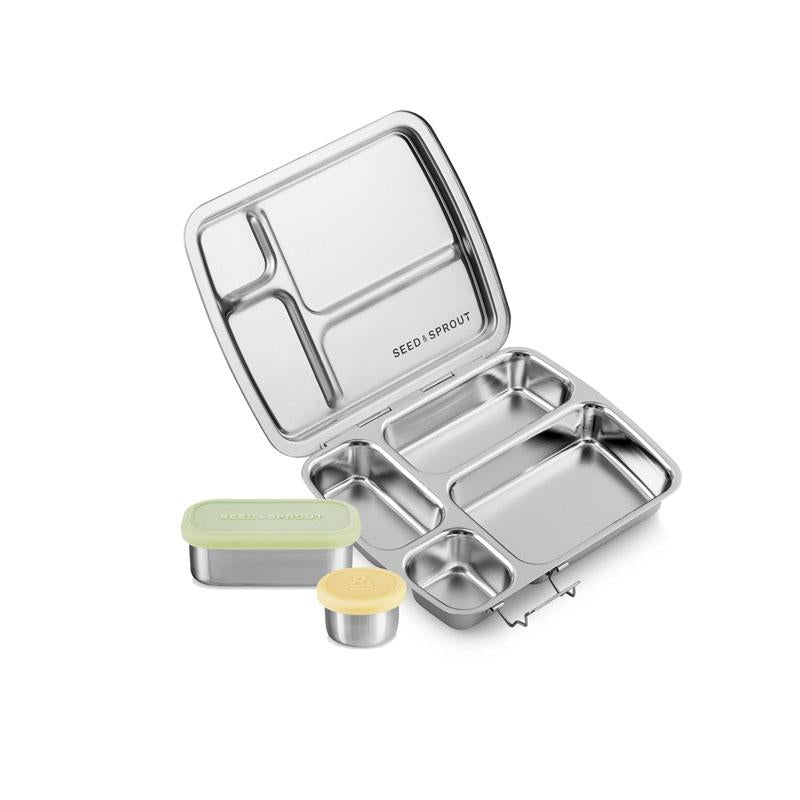 crunchbox stainless steel bento white background
