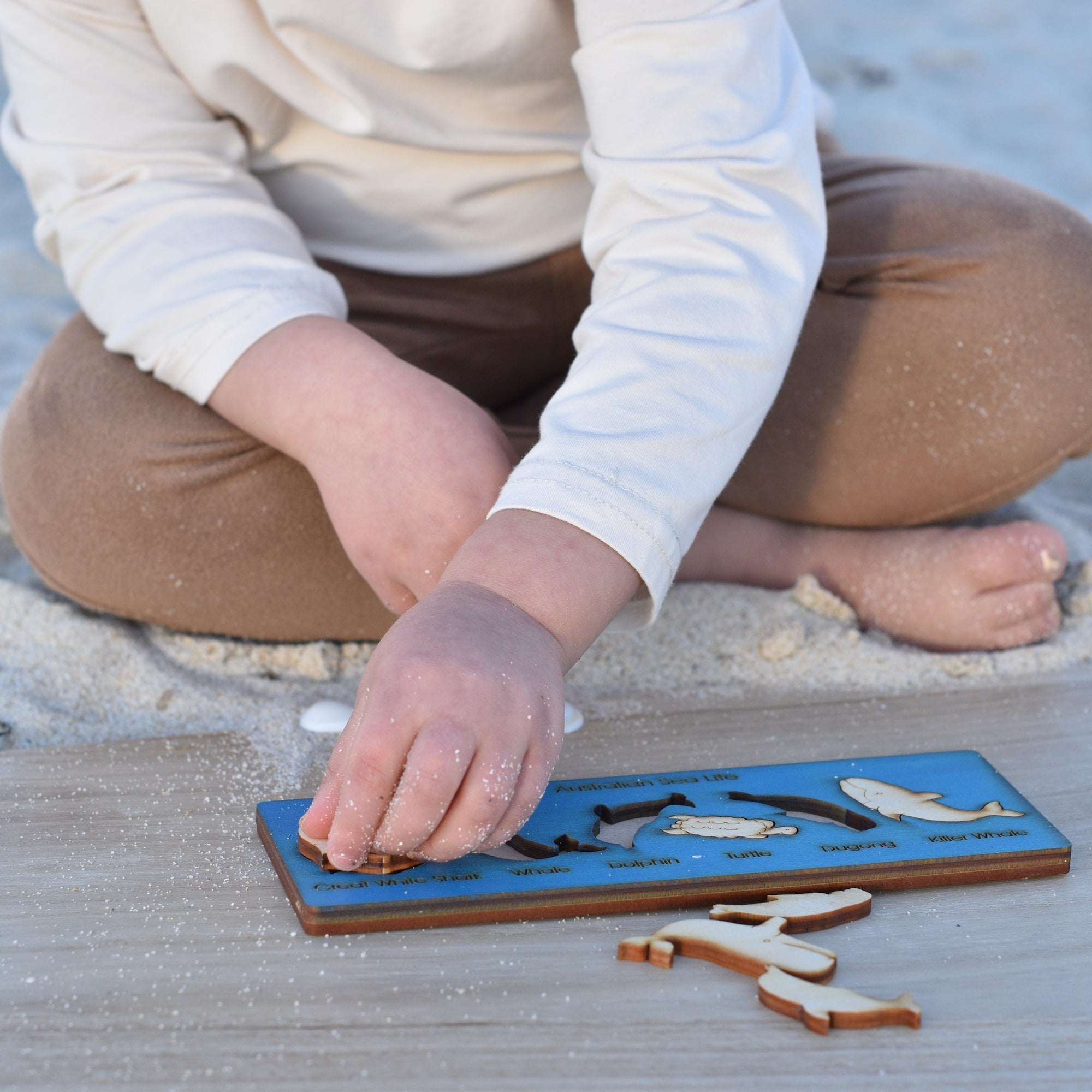 toddler wooden puzzle Australian sea life