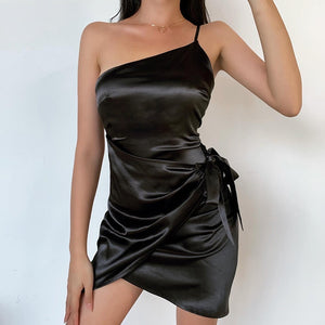 Single Shoulder Wrap Dress