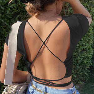 Backless Short Sleeve Tie Wrap Crop Top