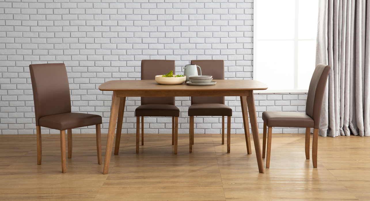 Aimon 1.5m Dining Set with 4 Lenore Chairs, Solid Wood with MDF Top - Novena Furniture Singapore