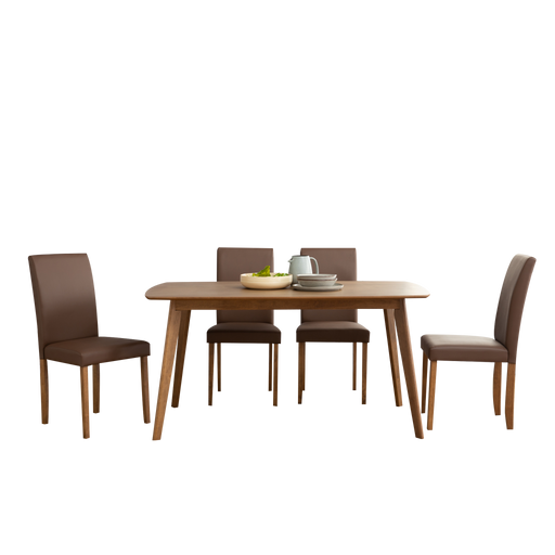 Aimon 1.2M Dining Set with 4 Lenore Dining Chairs, Solid Wood - Wide Array of Colours Available! - Novena Furniture Singapore