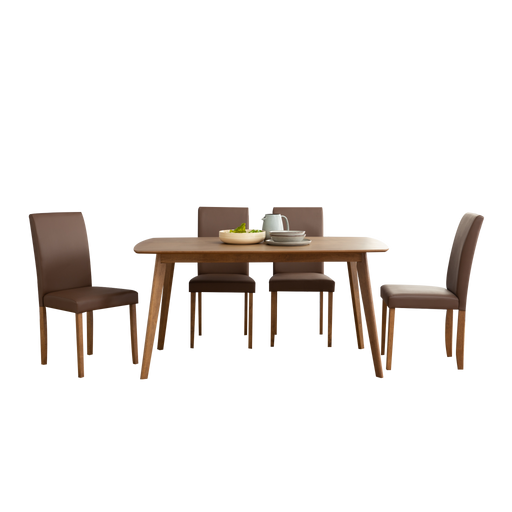 Aimon 1.5m Dining Set with 4 Lenore Chairs, Solid Wood with MDF Top - Novena Furniture Singapore - Dining Sets