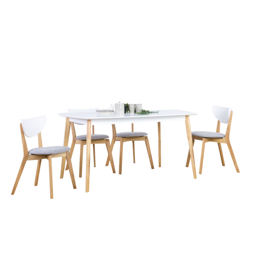 Aimon 1.5m Dining Set with 4 Naida Chairs - White/Natural - Novena Furniture Singapore