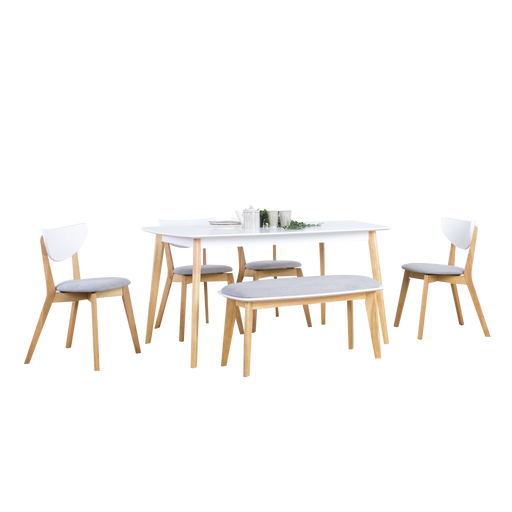 Aimon 1.5m Dining Set with Naida Chairs and Bench, Solid Wood with MDF Top - Novena Furniture Singapore - Dining Sets, Ready Stock