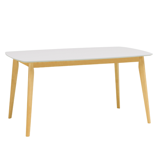 Aimon 1.5m Dining Table, MDF Top with Solid Wood Legs - Novena Furniture Singapore - Dining Tables,