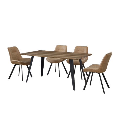Mason 1.6M Dining Set (Includes 4 Cabin Dining Chairs!) - Novena Furniture Singapore - Dining Tables