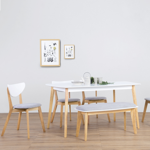 Aimon 1.5m Dining Set with Naida Chairs, Solid Wood Legs with MDF Top - Novena Furniture Singapore