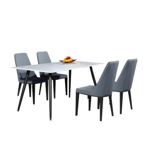 Anders 1.6m Dining Set, Sintered Rock/Ceramic - Novena Furniture Singapore