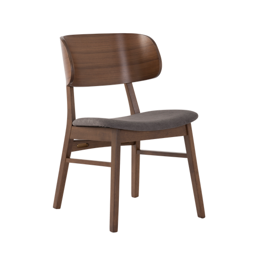 Asher Dining Chair, Fabric - Walnut/Iron - Novena Furniture Singapore -