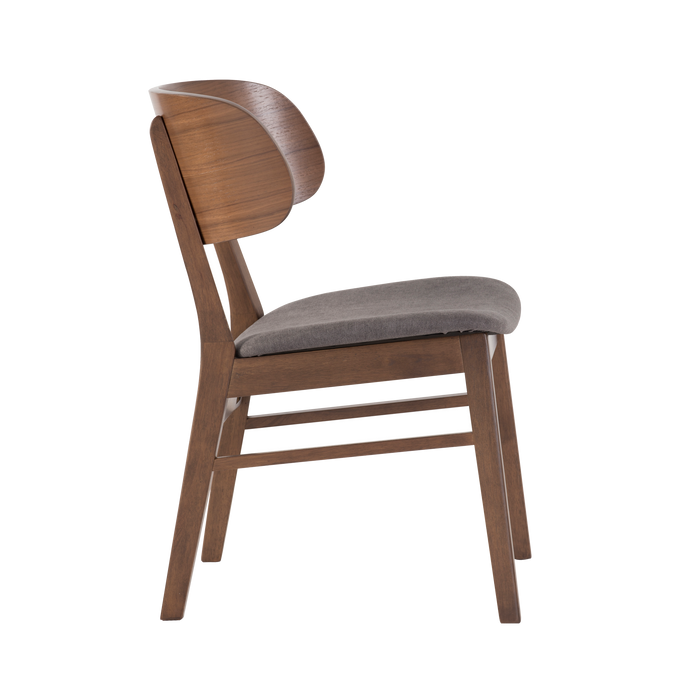 Asher Dining Chair, Fabric - Walnut/Iron - Novena Furniture Singapore